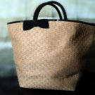 Straw Tote With Bow Detail