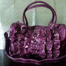 Patent Ruffled Handbag Purple