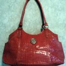 Patent Faux Croc Handbag