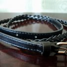 Black Braided Slim Belt