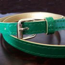 Slim Patent Belt Green