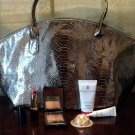 Metallic Pewter Snake Embossed Tote With Bonus Beauty Collection