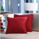 Red Fleece Accent Pillow Covers Set of 2