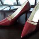 Burgundy Mary Jane Strap Pumps