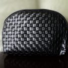 Faux Leather Woven Cosmetic Bag