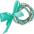 Aqua & White Bead & Rhinestone Bracelet Set of 5