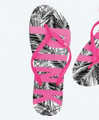 Victoria's Secret Pink Wild Palm Print Flip Flops