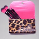 Bebe Leopard Print Makeup Brush Clutch Set