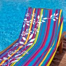 Bright Stripe Floral Accent Beach Towel