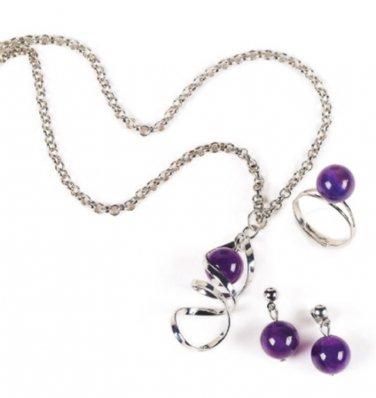3 Piece Amethyst  Necklace & Earrings Jewelry Set