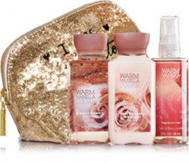 Bath & Body Works Warm Vanilla Sugar Bath Trio With Glamour Bag
