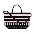 Victoria's Secret Expandable Getaway Canvas Weekender Tote Pink/Black Stripe
