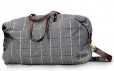 Gray Plaid Weekender Duffle Bag