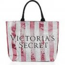 Victoria's Secret Limited Edition Sequin Stripe Canvas Tote Bag