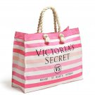 Victoria's Secret Pink & White Striped Canvas Tote