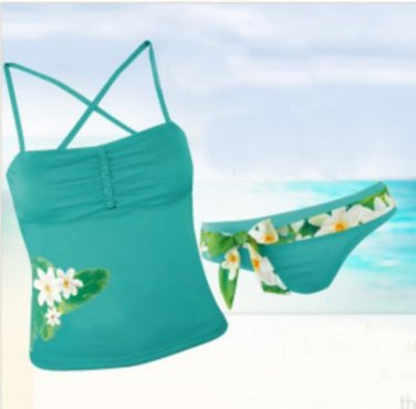 Tropical Floral Convertible Tankini 2 Piece Womens Swimwear P/S
