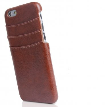 iPhone 6 / 6s Genuine Brown Leather Wallet Card Holder Case