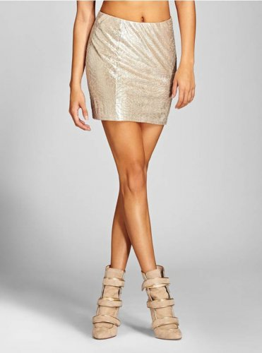 GUESS Gold Floral Shimmer Skirt