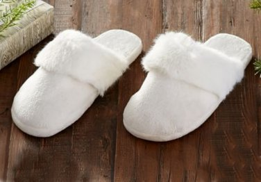 Pottery Barn Tonal Faux Fur Slippers