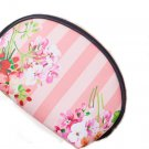 Pink Floral Stripe Cosmetic Bag