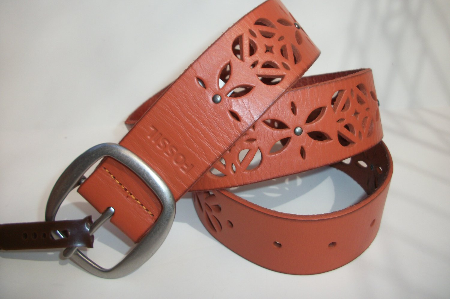 Fossil Brand Signature Floral Cut Out Perforated Leather Belt Light Orange