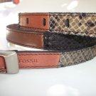 Fossil Brand Multi Color Belt Pieced Python Snake Embossed - M - Leather BT4022