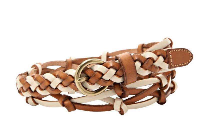 Fossil Knotted Woven Leather Jean Belt - S - BT4073 Open Woven Neutral Multi