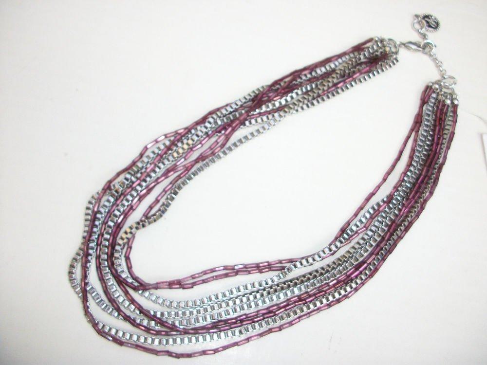 Jessica Simpson GIA Purple Bead Multi Chain Silver Tone Layered Necklace