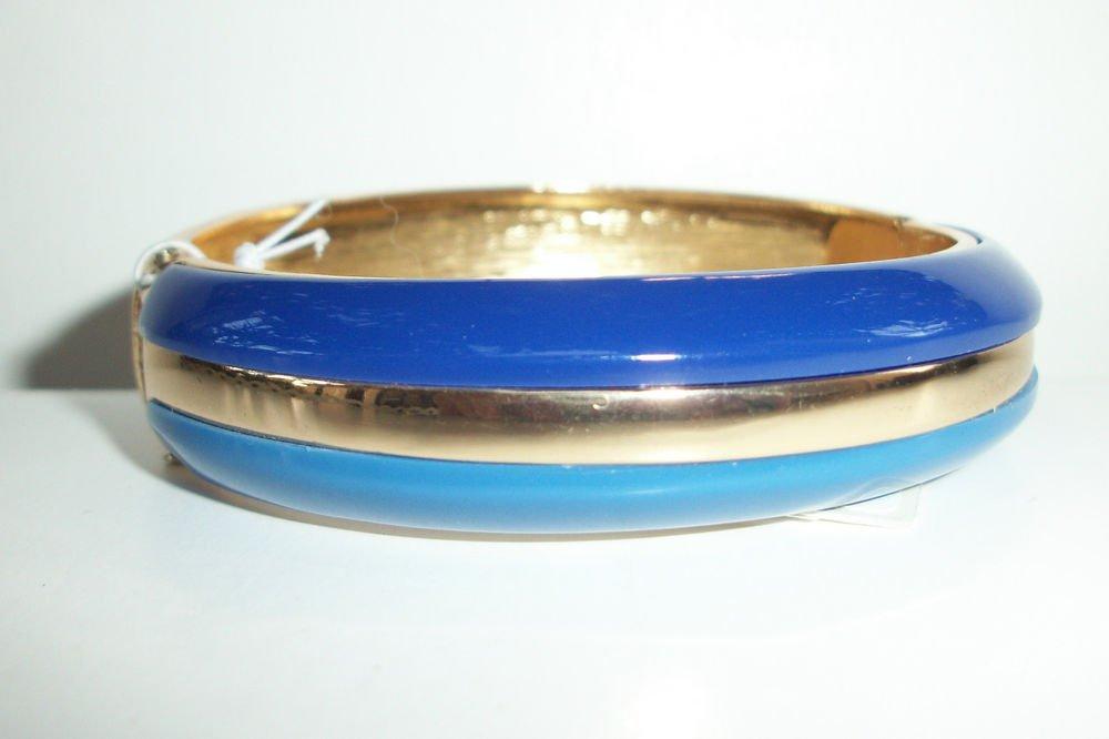 Kenneth Cole 'Modern Monaco' Blue Hinged Bangle Bracelet Gold Tone