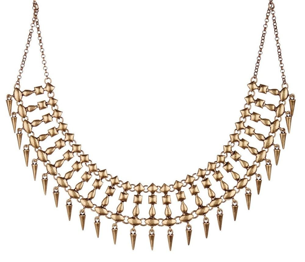 Lucky Brand Spike Drops Gold Tone Linked Statement Collar Necklace JLRU8872