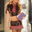 School girl costume incl. short sleeve snap front shirt with pocket, mini skirt and accessories..