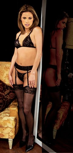 3 pc set. lace bra, garter belt, thigh hi n g string