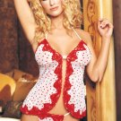 2 pc flocked hearts mesh babydoll