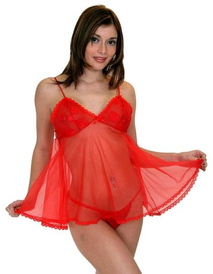 Sheer babydolll with clipped chiffon trim