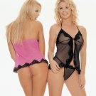 Mesh babydoll with sequined lace trim