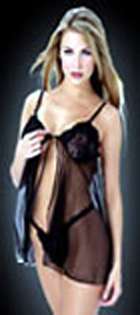 Sexy open front sheer babydoll with stretch lace bodice