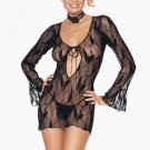 Sexy butterfly lace long sleeve chemise