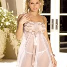 embroidered lace babydoll with empire waist, adj straps, n satin trim. matching gstring inclu.