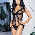 2 pc sheer mesh lace ruffle babydoll with satin ribbon tie