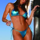 Super hot string top bra and matching string tie thong in lycra lame'