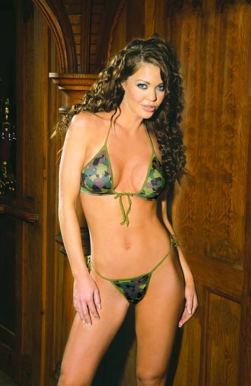 Camouflage print string bra top and matchng tie side g-string