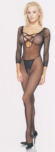 Seamless long sleeved fishnet bodystocking