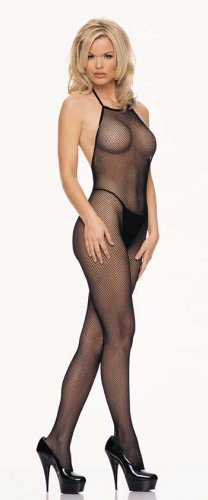Seamless halter neck fishnet bodystocking