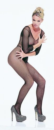 Seamless fishnet long sleeve bodystocking