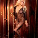 Deep v longsleeve body stocking with open crotch/
