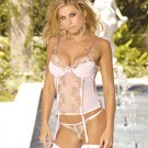 Embroidered lace bustier with underwire and boning. garters are adj,/