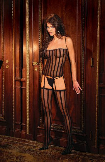 3 pc set opaque stripe camisette g string and stockings