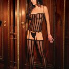 3 pc set opaque stripe camisette, g-string and stockings