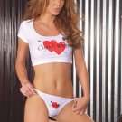 Cupids b**ch crop top with matching thong/
