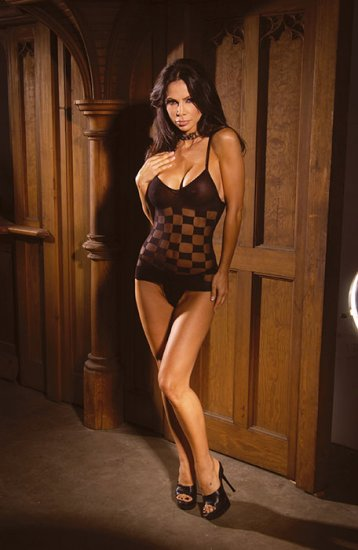 Checkered pattern mesh cami and g -string/